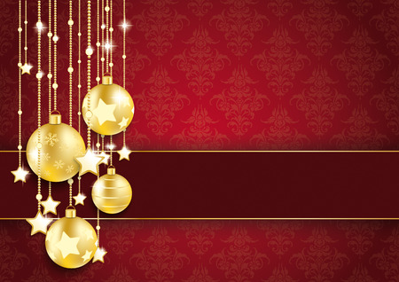 Golden baubles with stars and banner on the red background with ornaments. Eps 10 vector file. photo