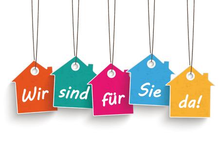 House price stickers on the white background. German text Wir sind für Sie da, translate We`re open. Eps 10 vector file. photo