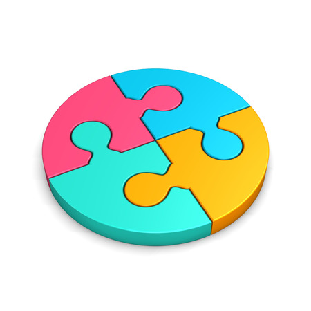 altogether: Colored circle puzzle on the white background. 3d illustration.