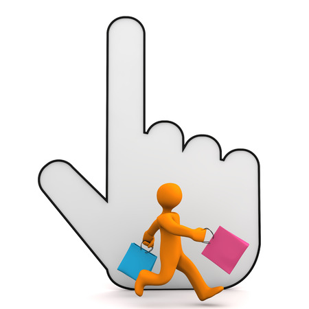 Orange cartoon character with colorful shopping bags and big hand cursor. White background. photo