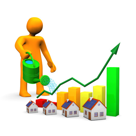 investor: Orange cartoon with watering can, houses and colorful chart. Stock Photo