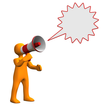 organise: Orange cartoon character with speech bubble and bullhorn.