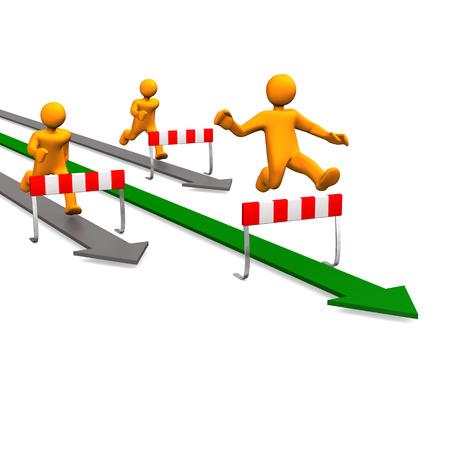 sprung: Three orange cartoon characters running on arrows.