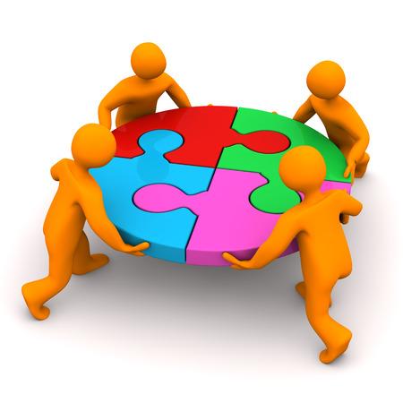 Orange Cartoon-Figuren mit Kreis-Puzzle auf dem weißen Hintergrund. Standard-Bild