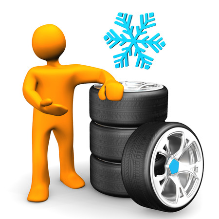 snow tires: Orange cartoon character with snowflake sign and car wheels.