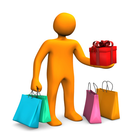 Orange cartoon character with shopping bags and red gift carton. photo