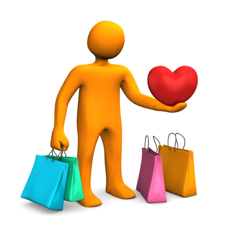 Orange cartoon character with shopping bags and red heart. photo