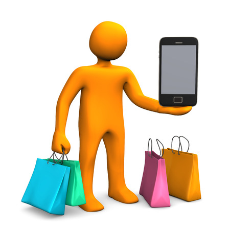 Orange cartoon character with colorful shopping bags and a smartphone. White background. photo