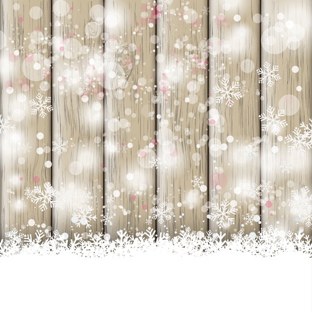 snoflake: Snow on the wooden background. Eps 10 vector file.