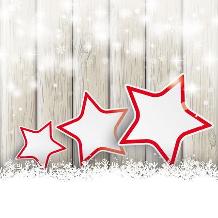 Snow with stars on the wooden background. Eps 10 vector file. photo
