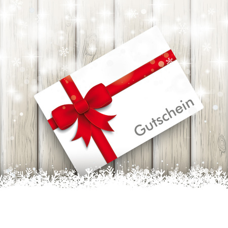 chit: Snow with white card on the wooden background. German text Gutschein, translate Coupon. Eps 10 vector file.