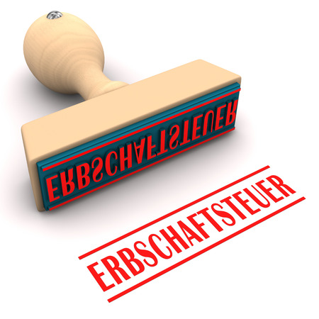 sedentary: Stamp with german text Erbschaftsteuer, translate tinheritance tax.