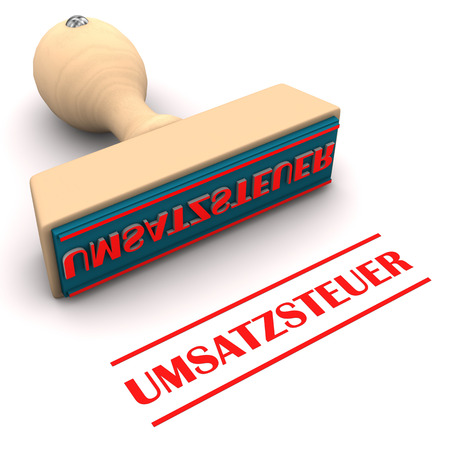 taxman: Stamp with german text Umsatzsteuer, translate Sales Tax. Stock Photo