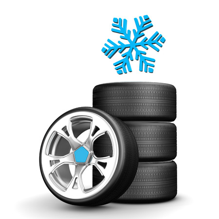 smoothness: Snow tires with snowflake on the white background.