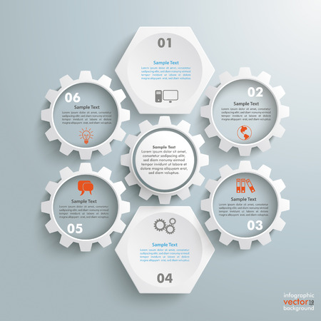 iterative: Infographic with honeycomb structure and gears on the grey background.