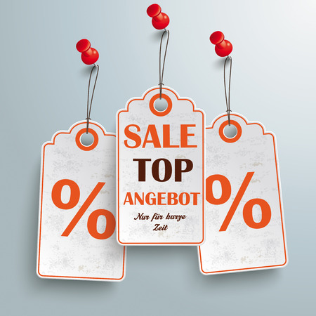 Price stickers with red thumbtackon the gray background.German text Top Angebot and Nur für kurze Zeit, translate Best Offer and limited time only. Vector