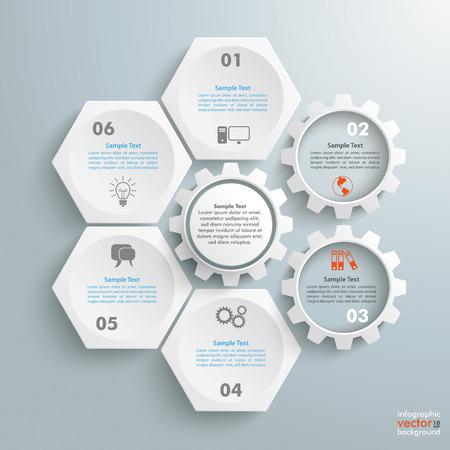 sjabloon: Infographic met honingraatstructuur en tandwielen op de grijze achtergrond. Stock Illustratie