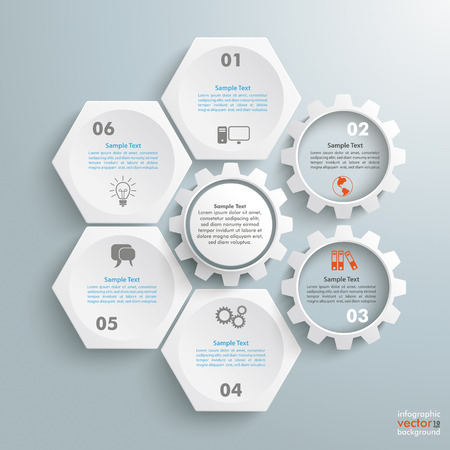 Infographic with honeycomb structure and gears on the grey background.