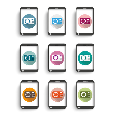 photocamera: Photocamera icons with smartphones on the white background.