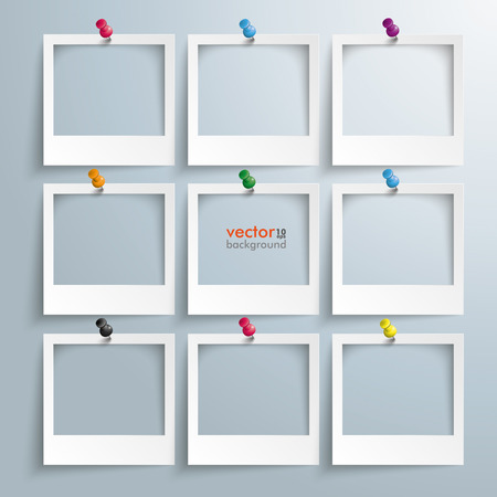 Photo frames with thumbtacks on the gray background. Stock Illustratie