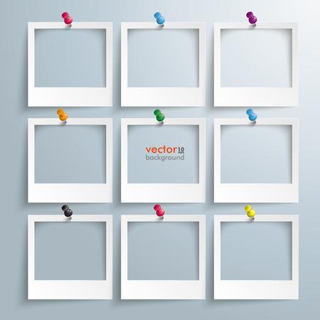marcos cuadros: Marcos de la foto con chinchetas en el fondo gris.