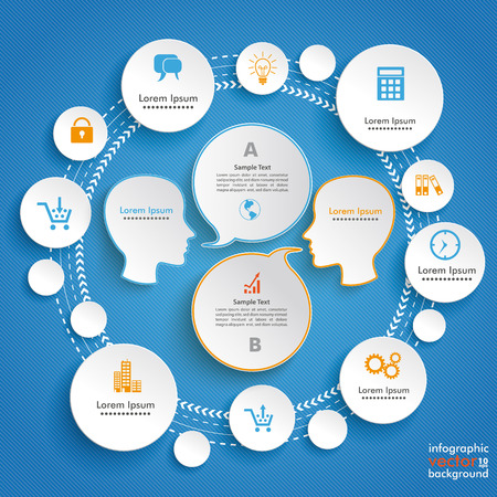 Infographic design with human heads and circles on the blue background. Eps 10 vector file.