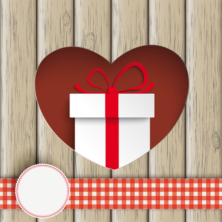 slat: Heart hole with white gift box and wooden background. Eps 10 vector file. Illustration
