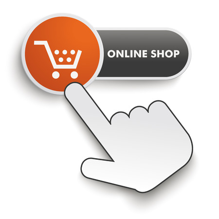Online shop button with hand cursor on the white background. Eps 10 vector file. Illustration
