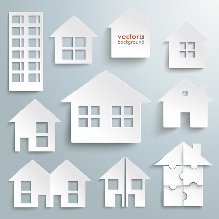 grey house: White paper houses set on the gray background. Eps 10 vector file.