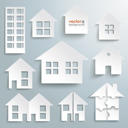 Wit papier huizen op de grijze achtergrond. Eps 10 vector bestand.
