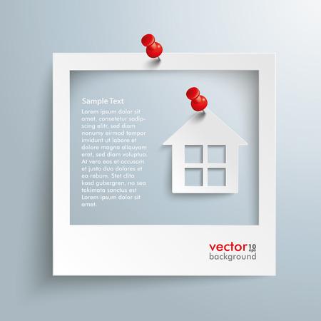 집과 회색 배경에 빨간색 압정 사진 프레임. 10 벡터 EPS 파일.