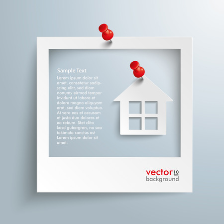 photo paper: Photo frame with house and red thumbtacks on the gray background. Eps 10 vector file. Illustration