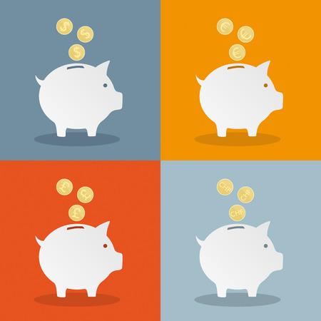 Piggy banken met valuta symbolen .. Eps 10 vector bestand.