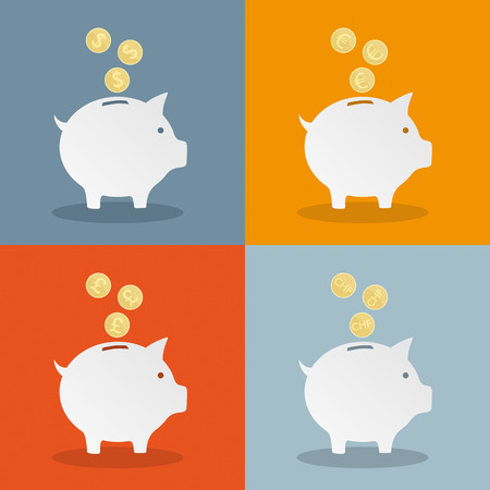 a bank employee: Piggy banks with currency symbols.. Eps 10 vector file.
