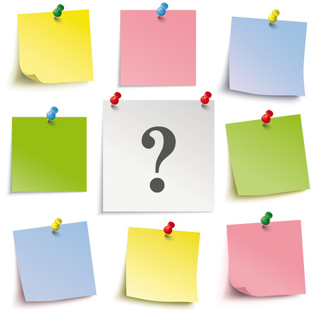 yellow tacks: Colored sticks with question mark and pins on the white background. Eps 10 vector file.