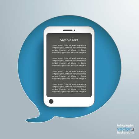 halfone: Speech bubble hole with white smartphone on the gray background. Eps 10 vector file. Illustration