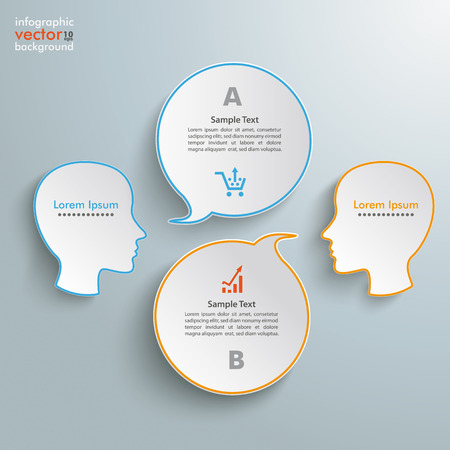 Infographic with 2 heads and 2 speech bubbles on the gray background. Eps 10 vector file.