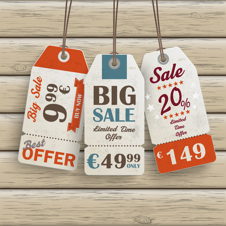Infographic with price sticker the wooden background. Eps 10 vector file. Vector
