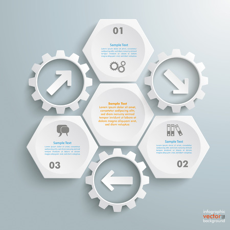 Infographic with honeycomb structure and gears on the grey background. Eps 10 vector file.