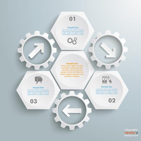 Infografik mit Wabenstruktur und Zahnräder auf dem grauen Hintergrund. Eps 10 Vektor-Datei. Illustration
