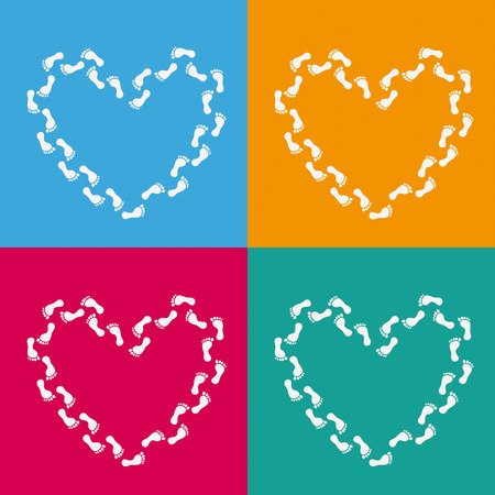 footing: 4 colored backgrounds with hearts. Eps 10 vector file.