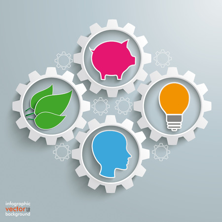 Gear machine with head, bulb, plant leaves and piggy bank on the gray background. Eps 10 vector file.