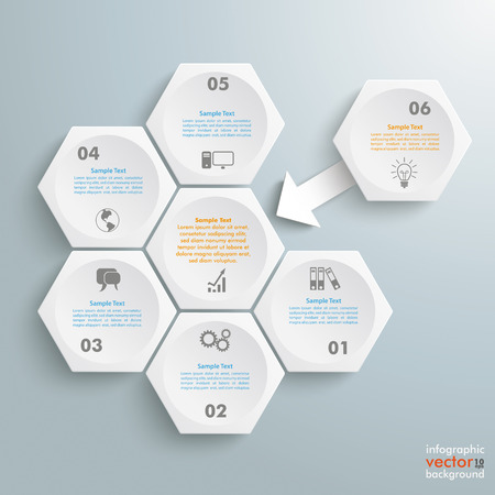 incorporation: Infographic with honeycomb structure on the grey background. Eps 10 vector file.