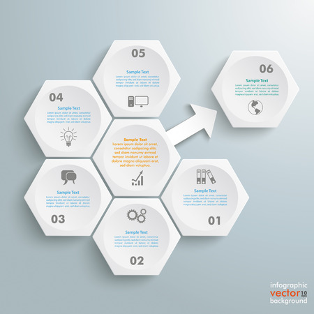 outsourcing: Infographic with honeycomb structure on the grey background. Eps 10 vector file.