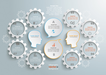 8 gears with 2 heads and speech bubbles wheels on the gray background. Eps 10 vector file.