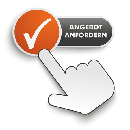 onlineshop: Germant text Angebot anfordern, translate Get A Quote. Button on the white background. Eps 10 vector file. Illustration