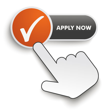 Apply Now button with hand cursor on the white background. Eps 10 vector file.