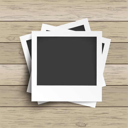 Batched photo frames with camera icons on the wooden background. Eps 10 vector file.