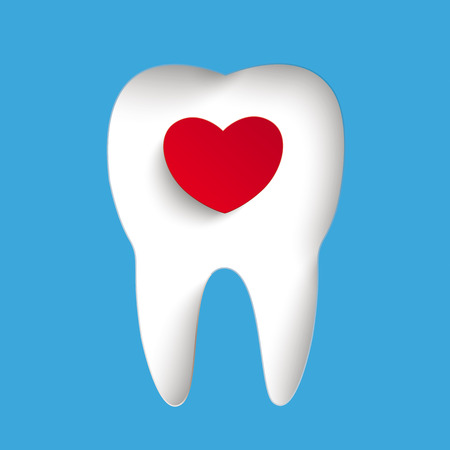 Blue background with tooth hole and red heart. Eps 10 vector file. Vector