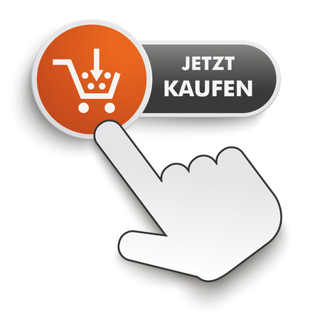 onlineshop: Infographic design on the gray background. German text Jetzt kaufen, translate buy it now. Eps 10 vector file.